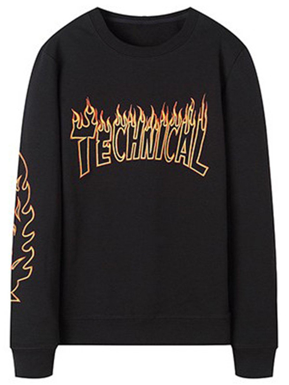 Flame  Embroidery Crew Neck Sweatshirt - BLACK 3XL
