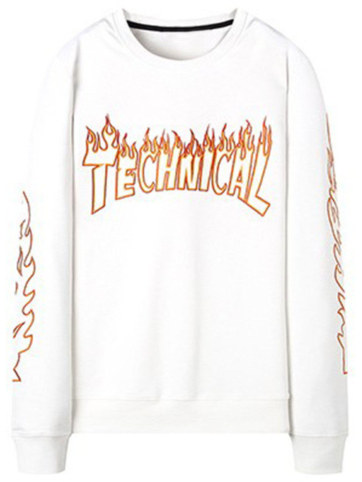 Flame  Embroidery Crew Neck Sweatshirt - WHITE L