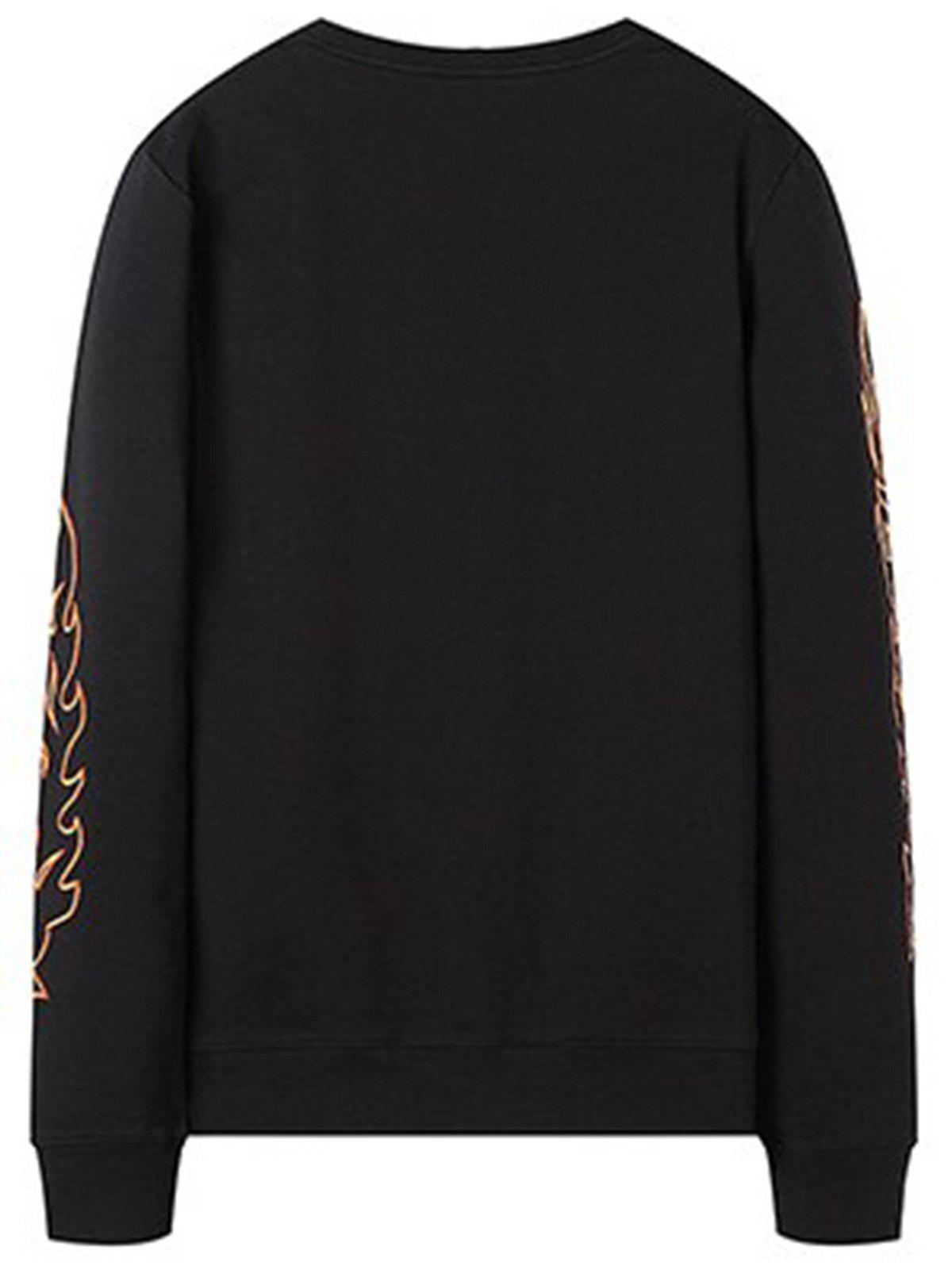 Flame  Embroidery Crew Neck Sweatshirt - BLACK L