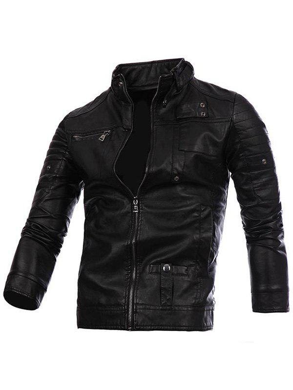 Stand Collar Zip Up PU Leather Jacket - BLACK S