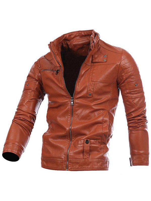 Stand Collar Zip Up PU Leather Jacket - BROWN S