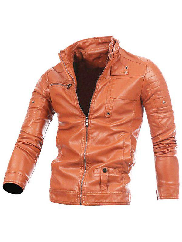 Stand Collar Zip Up PU Leather Jacket pu leather and corduroy spliced zip up down jacket