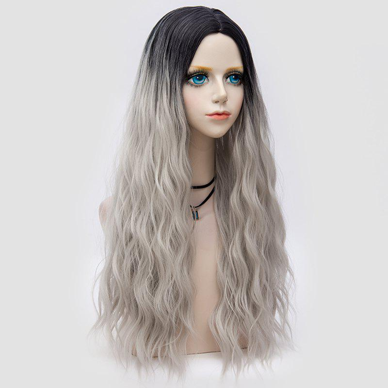 Middle Part Long Fluffy Water Wave Synthetic Party Wig - FROST