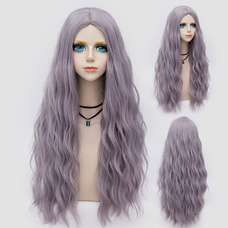 Middle Part Long Fluffy Water Wave Synthetic Party Wig - BLUE VIOLET