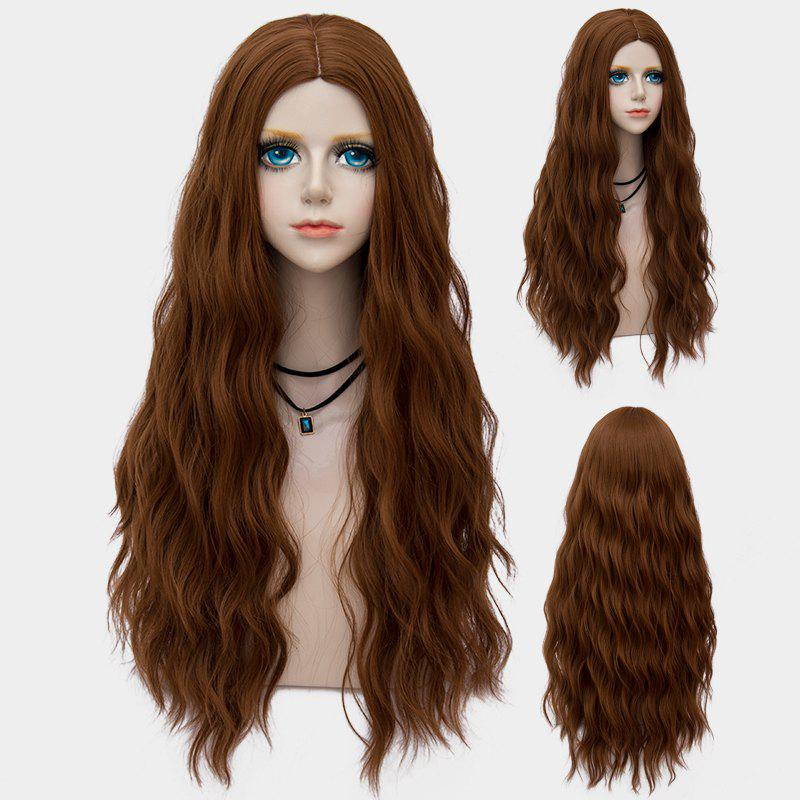 Middle Part Long Fluffy Water Wave Synthetic Party Wig - BROWN
