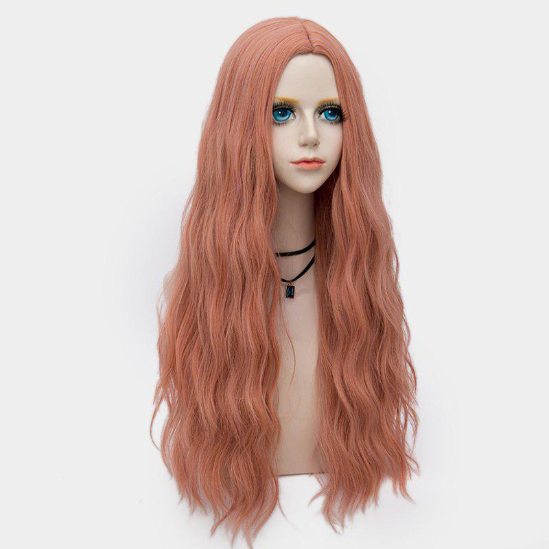 Middle Part Long Fluffy Water Wave Synthetic Party Wig - PINK/RAINBOW