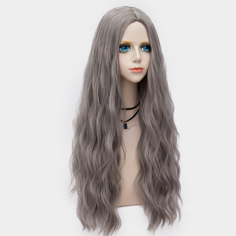 Middle Part Long Fluffy Water Wave Synthetic Party Wig - LIGHT GRAY