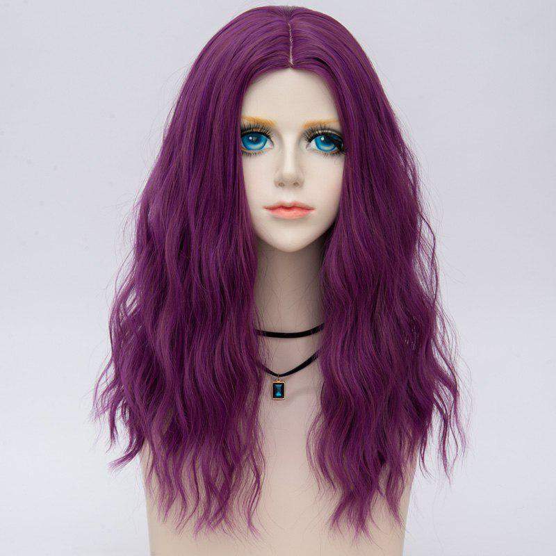 Medium Fluffy Center Parting Water Wave Synthetic Party Wig - TARO PURPLE