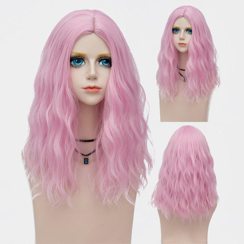Medium Fluffy Center Parting Water Wave Synthetic Party Wig - LIGHT PINK