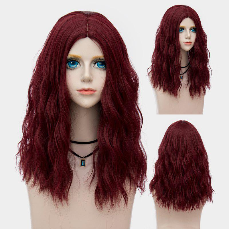 Medium Fluffy Center Parting Water Wave Synthetic Party Wig - DARK RED