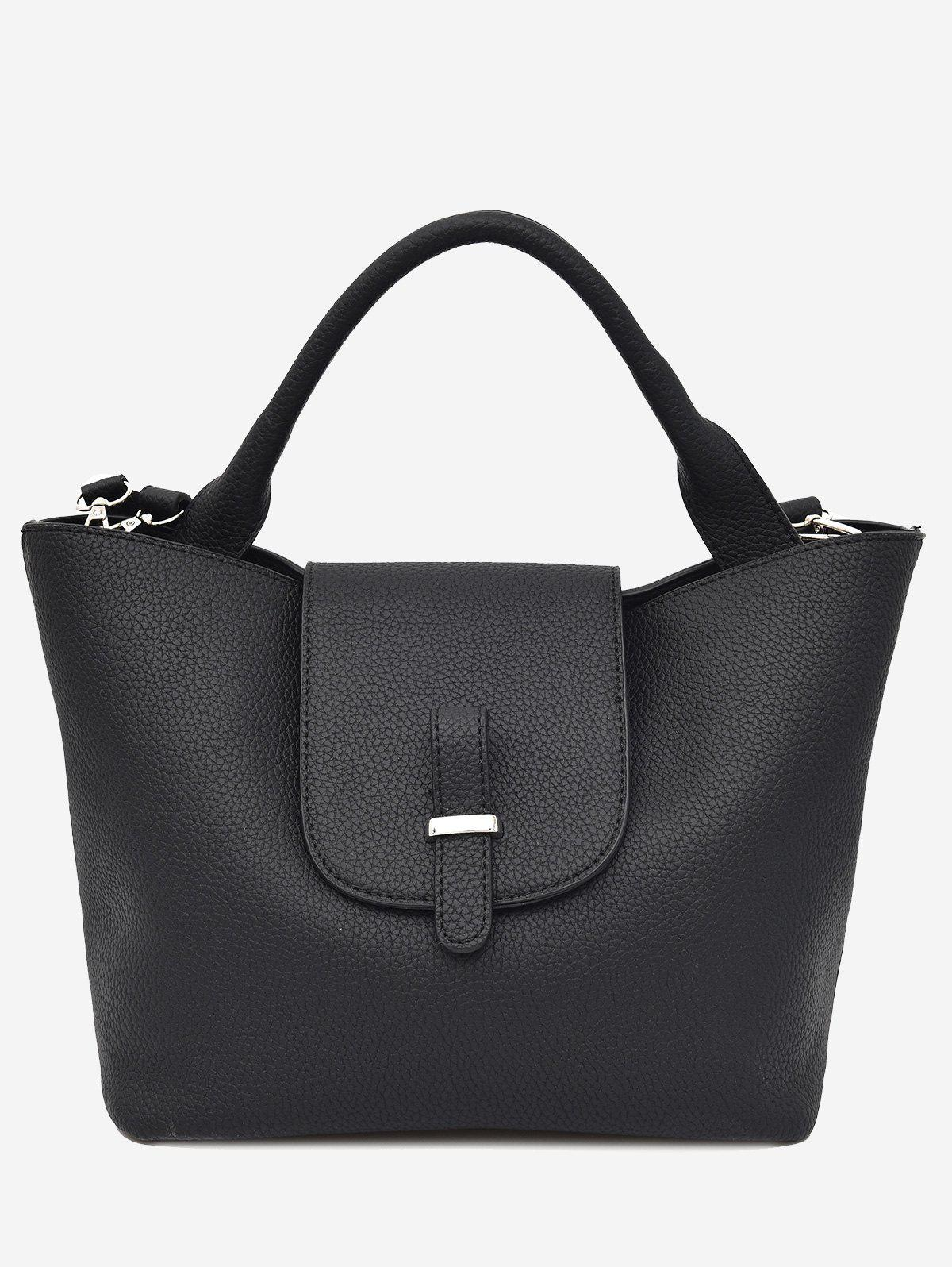 Top Handle Faux Leather Handbag - BLACK
