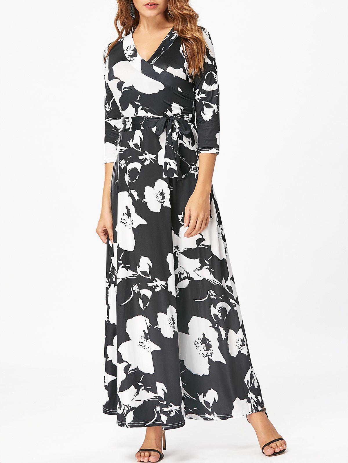 Surplice Floral Print Belted Maxi Dress - BLACK 2XL