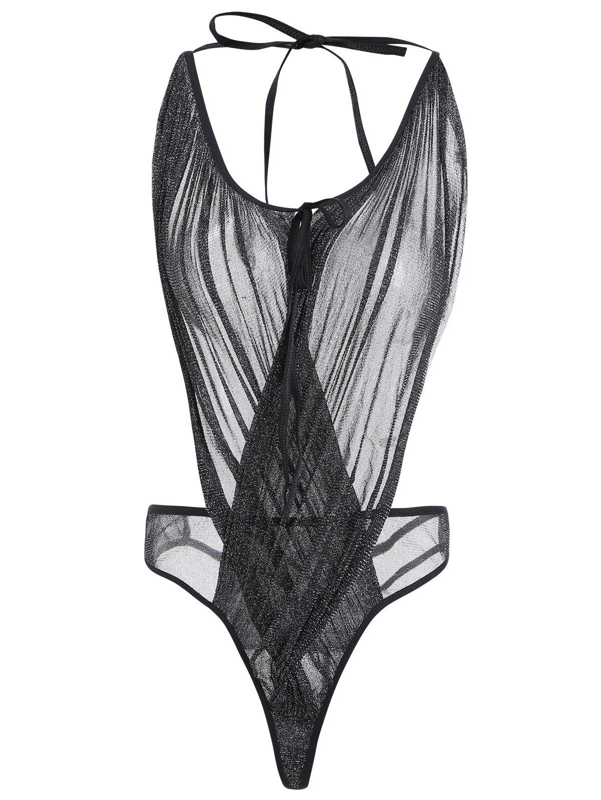 Mesh Sheer Low Cut Teddy - Noir ONE SIZE