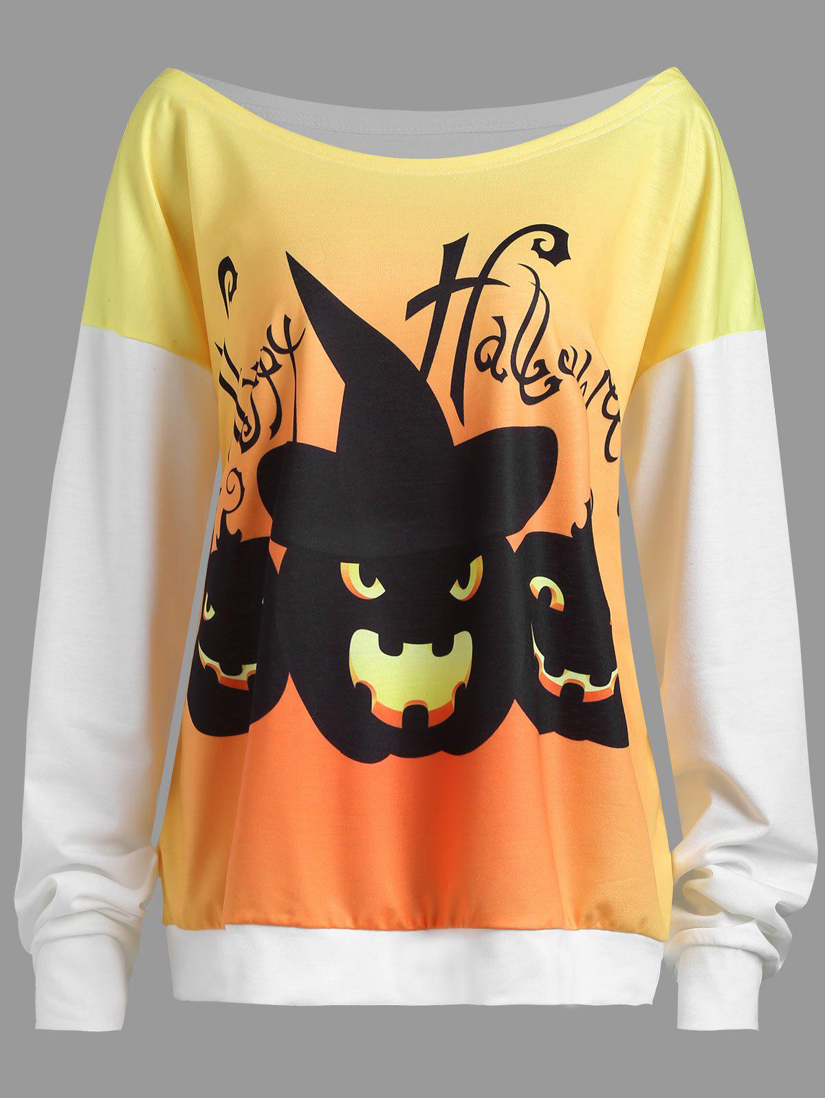 Plus Size Happy Halloween Pumpkin Drop Shoulder Sweatshirt