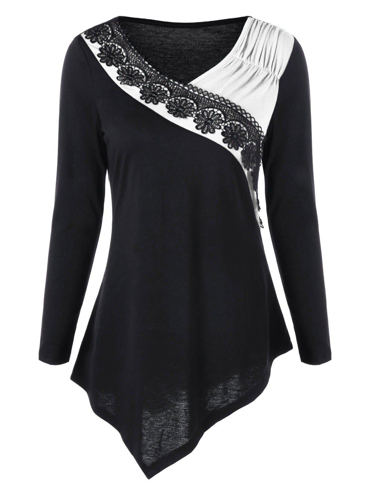 Two Tone Lace Trim Asymmetric Top contrast embroidered two tone plush top
