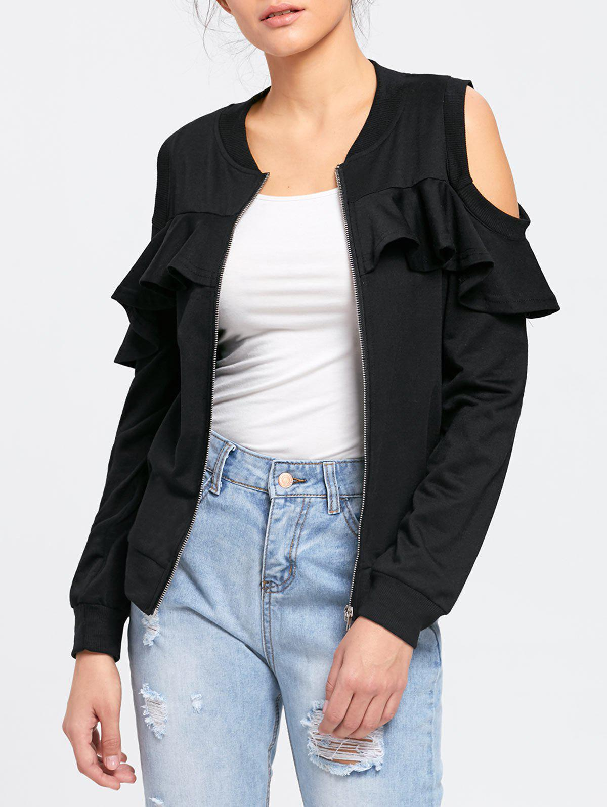Ruffle Cold Shoulder Jacket - BLACK L