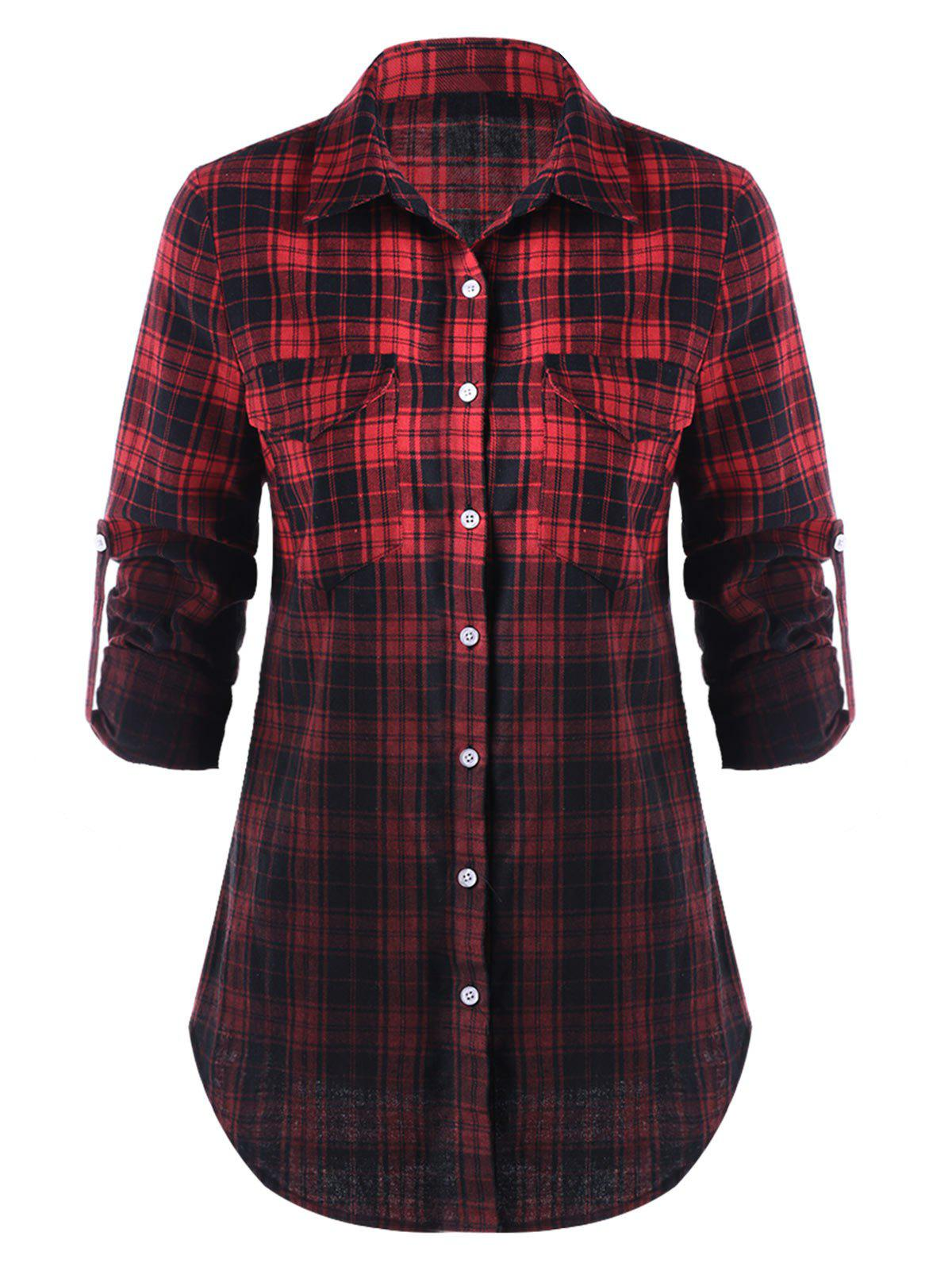 Flap Pockets Ombre Plaid Shirt - BLACK/RED M