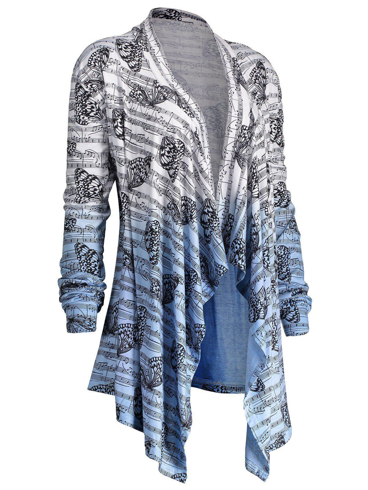 2018 Ombre Music Note Butterfly Plus Size Cardigan BLUE/WHITE XL ...