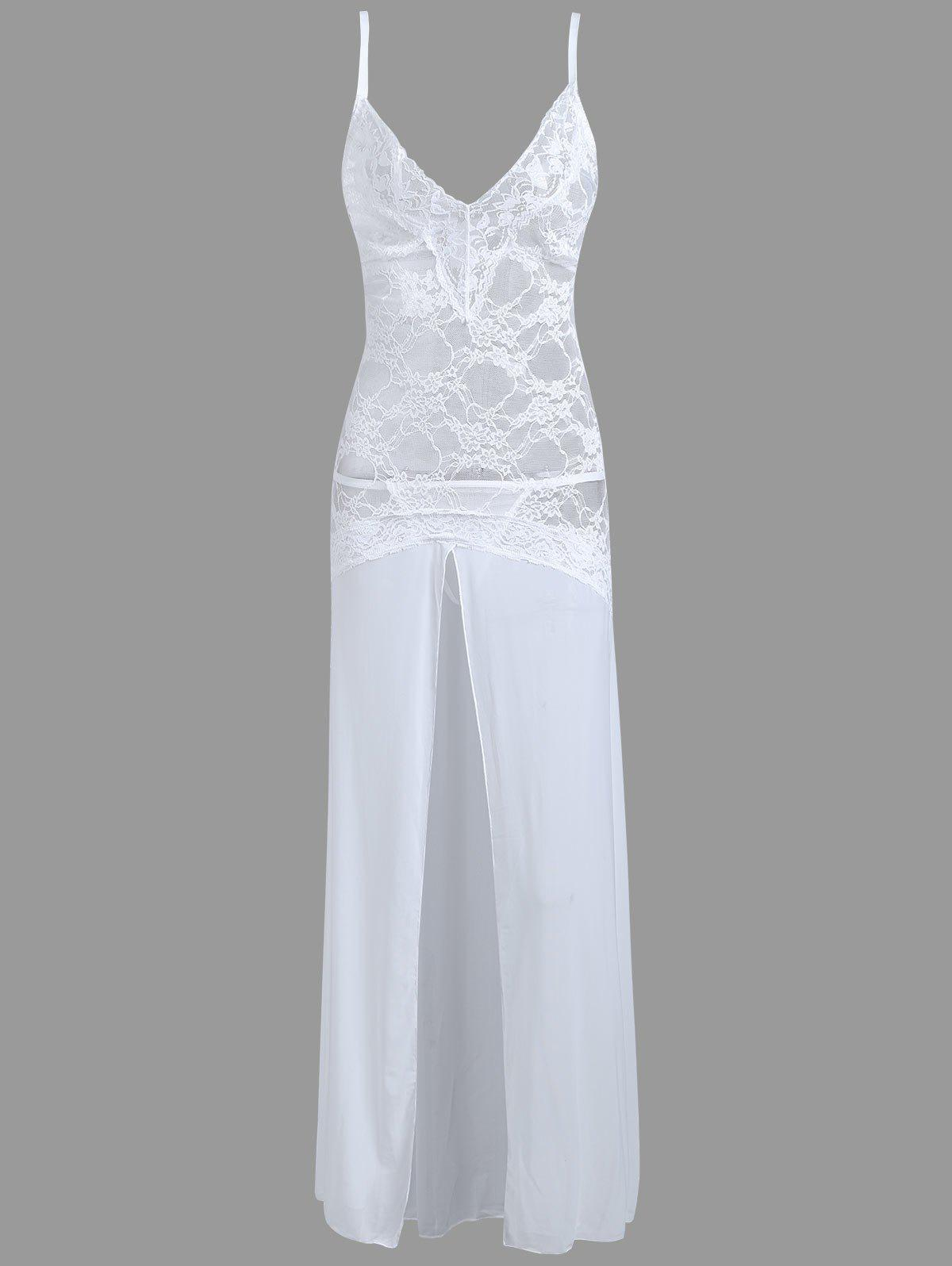 High Slit Lace Long Sheer Slip Dress - WHITE L