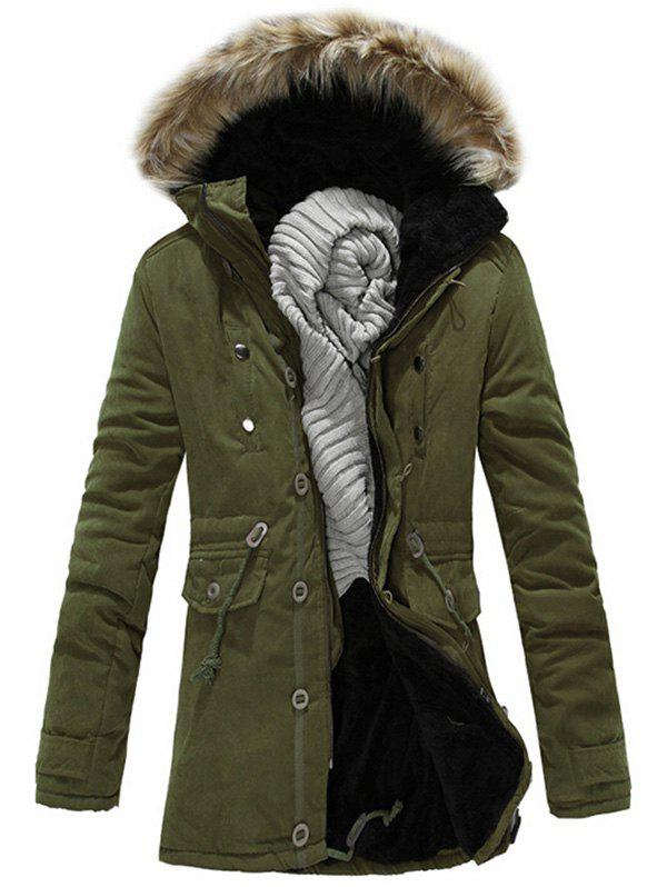 2018 Faux Fur Hood Zipper Up Parka Jacket ARMY GREEN L In Jackets ...