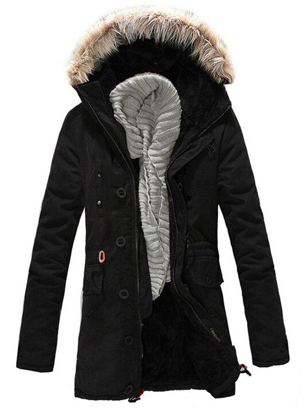 Faux Fur Hood Zipper Up Parka Jacket - BLACK 2XL