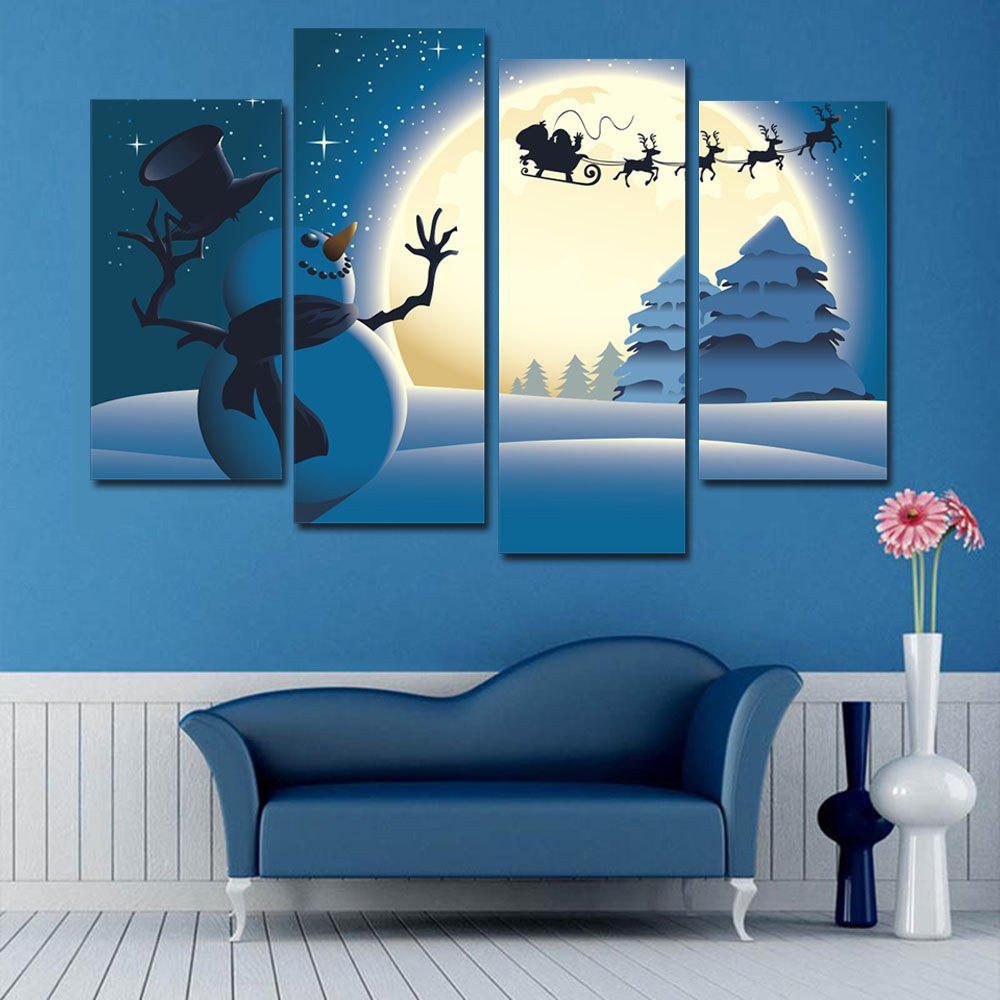 Christmas Moon Snowflake Pattern Unframed Canvas Paintings burning guitar pattern unframed wall art canvas paintings