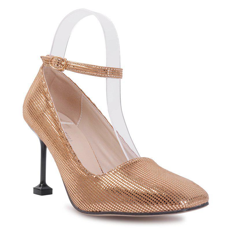 Stiletto Heel Square Toe Pompe à cheville - Or 38