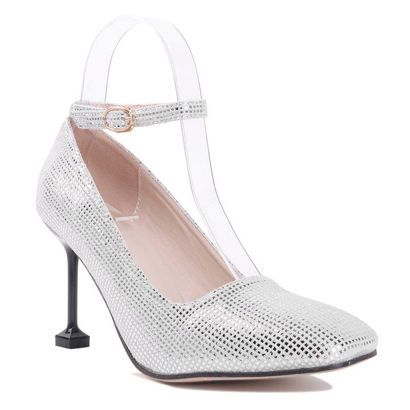 Stiletto Heel Square Toe Pompe à cheville - Argent 35