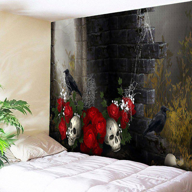 Halloween Crow Skull Flower Wall Tapestry one crow alone