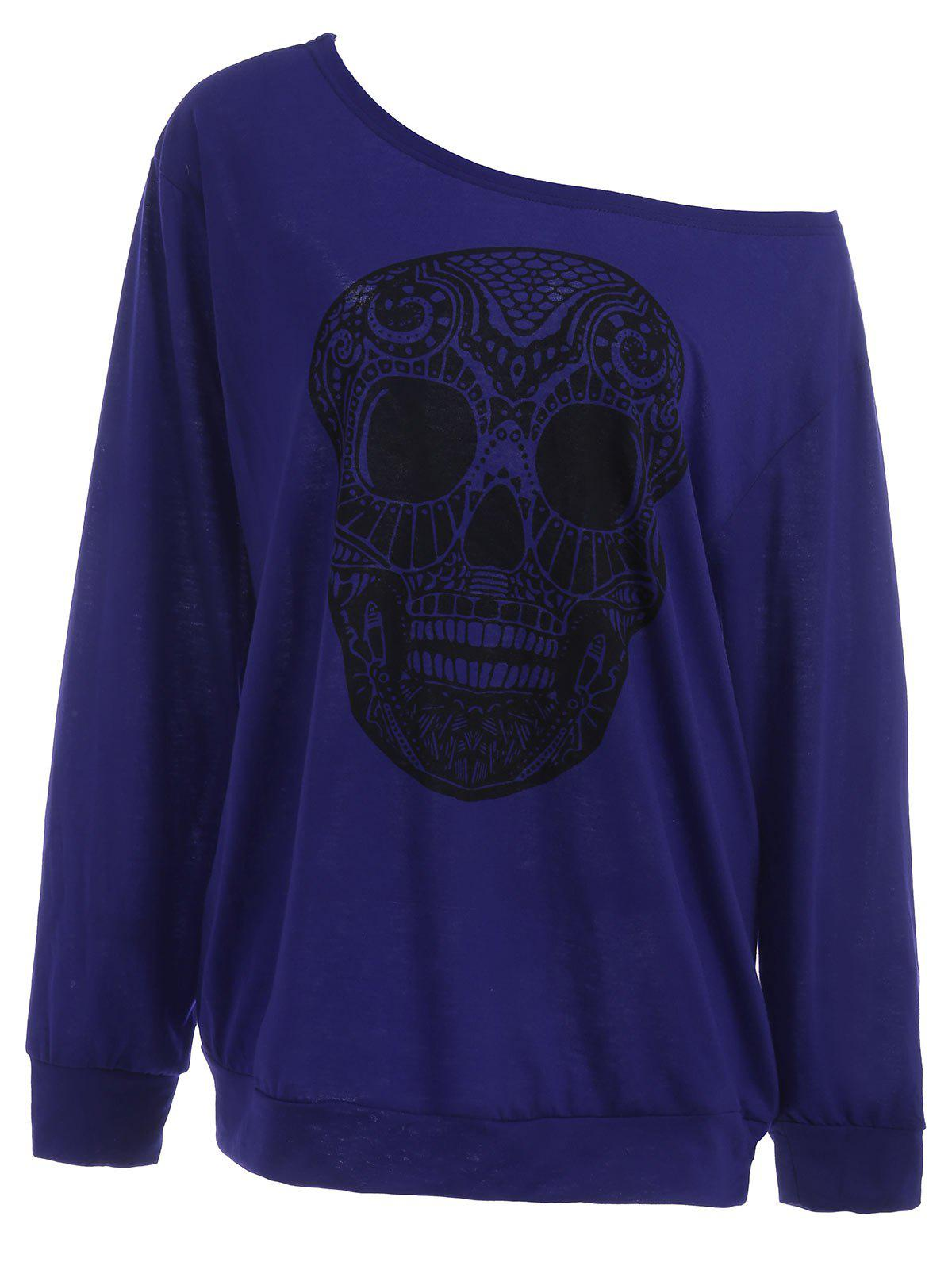 Plus Size Skull Skew Collar Sweatshirt plus size christmas reindeer skew collar sweatshirt