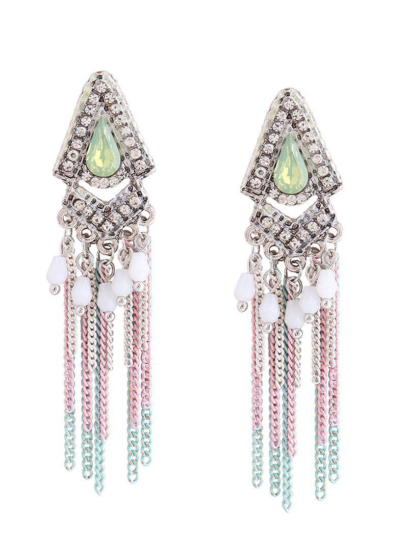 Rhinestone Resin Teardrop Fringed Chain Earrings
