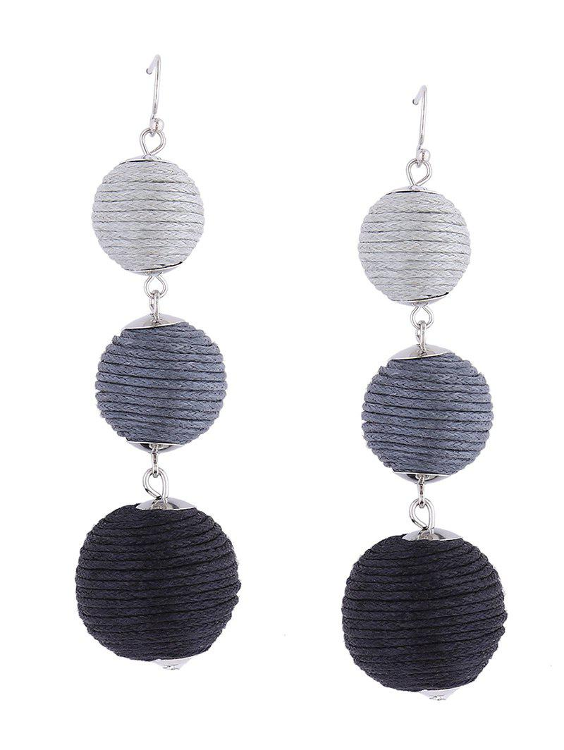 Ball Layered Fish Hook Earrings - BLACK