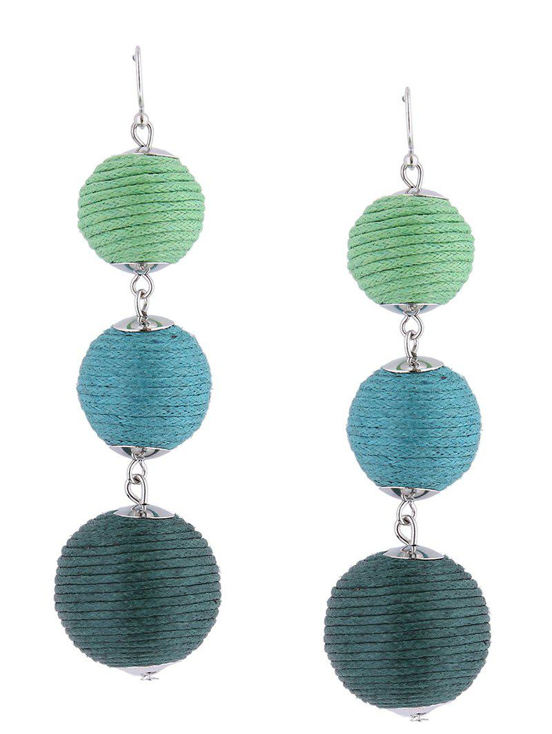 Ball Layered Fish Hook Earrings - GREEN