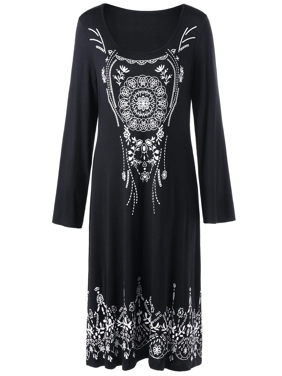 Halloween Monochrome Long Sleeve Tee Dress - BLACK 2XL