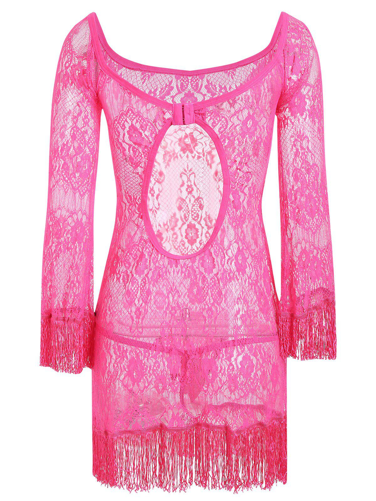 Lace Sheer Backless Babydoll with Fringes - TUTTI FRUTTI M
