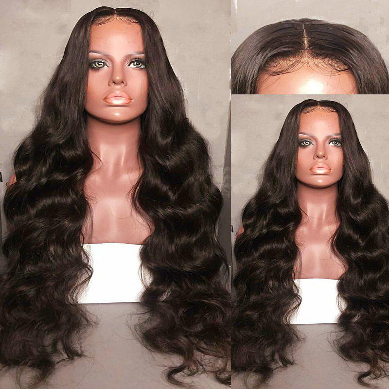 Long Center Parting Fluffy Body Wave Lace Front Synthetic Wig - DEEP BROWN