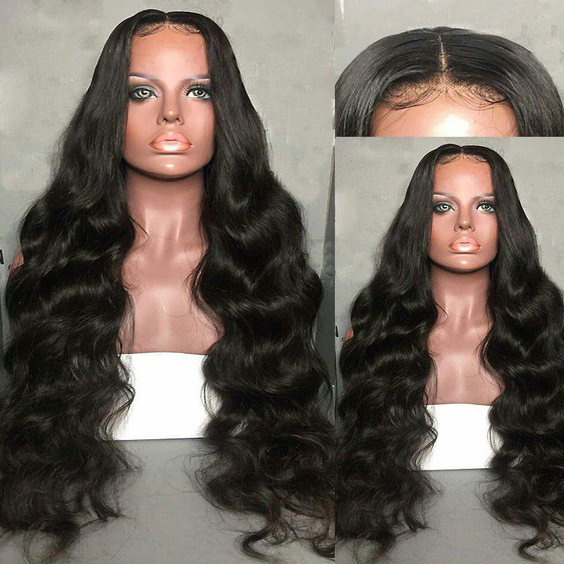 Long Center Parting Fluffy Body Wave Lace Front Synthetic Wig - BLACK