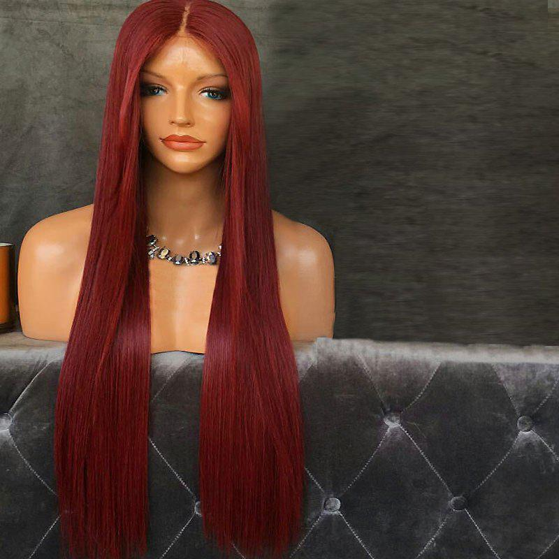 Middle Part Straight Long Synthetic Lace Front Wig - WINE RED