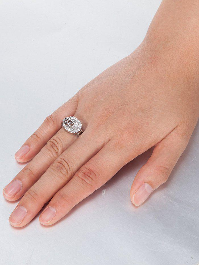 Zircon Insert Hollow Out Carve Metal Ring - SILVER 8