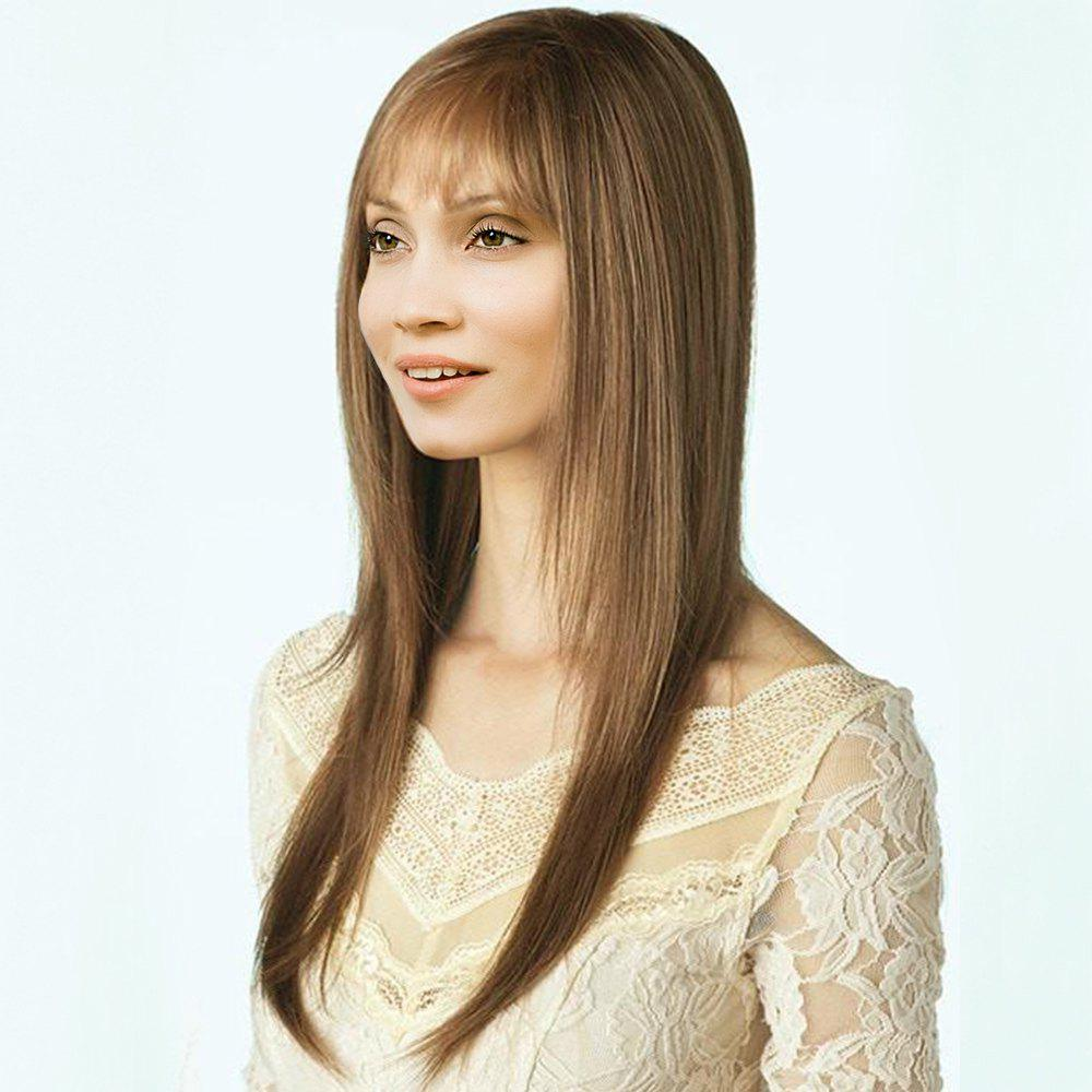 Side Parting See-Through Bang Long Layered Straight Synthetic Wig - LIGHT BROWN 24INCH