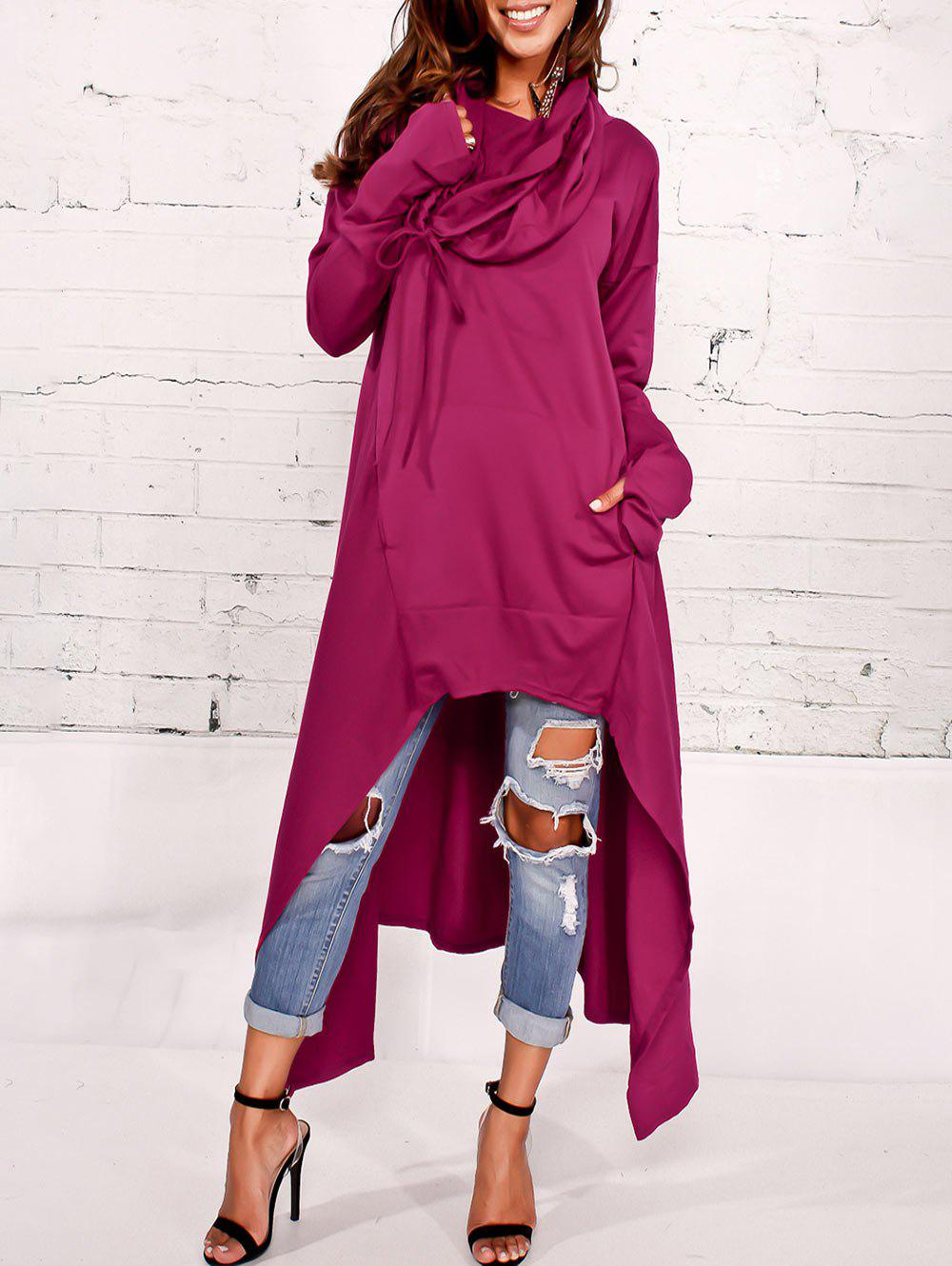 Kangaroo Pocket Asymmetric Maxi Hoodie - PURPLISH RED 2XL