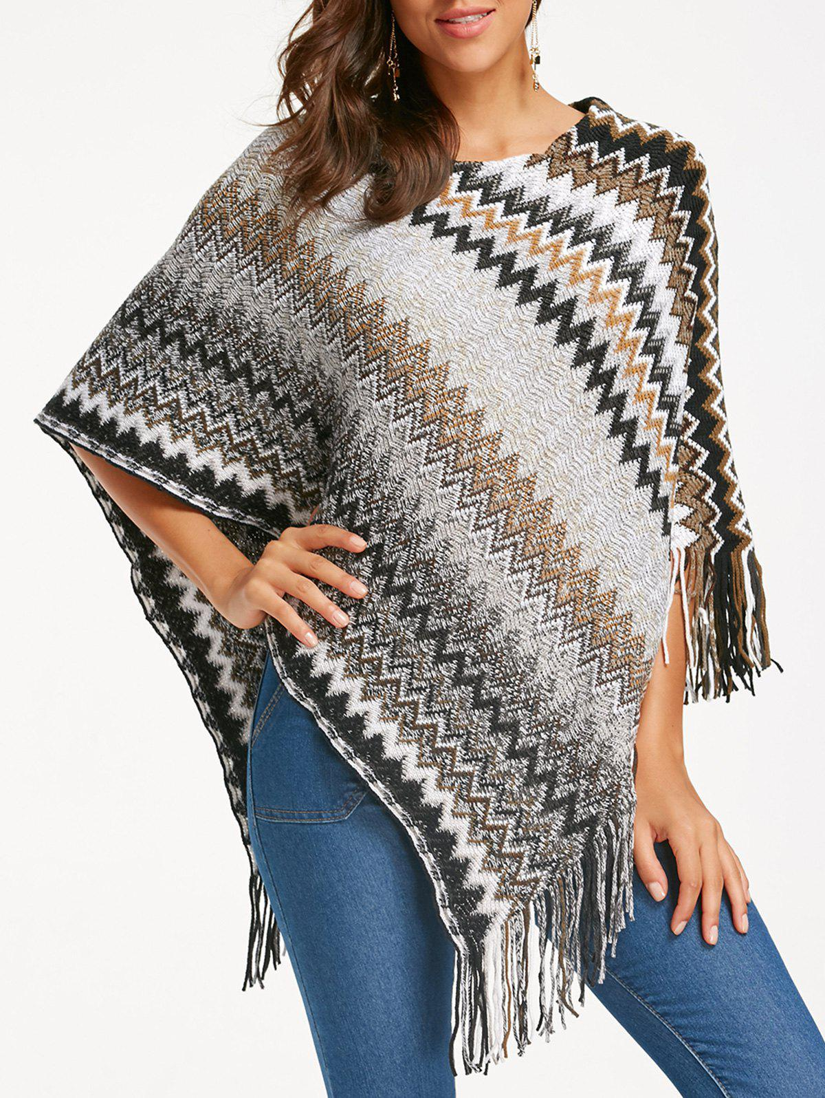 Zigzag Knitted Irregular Fringed Poncho ribbed knitted poncho pink