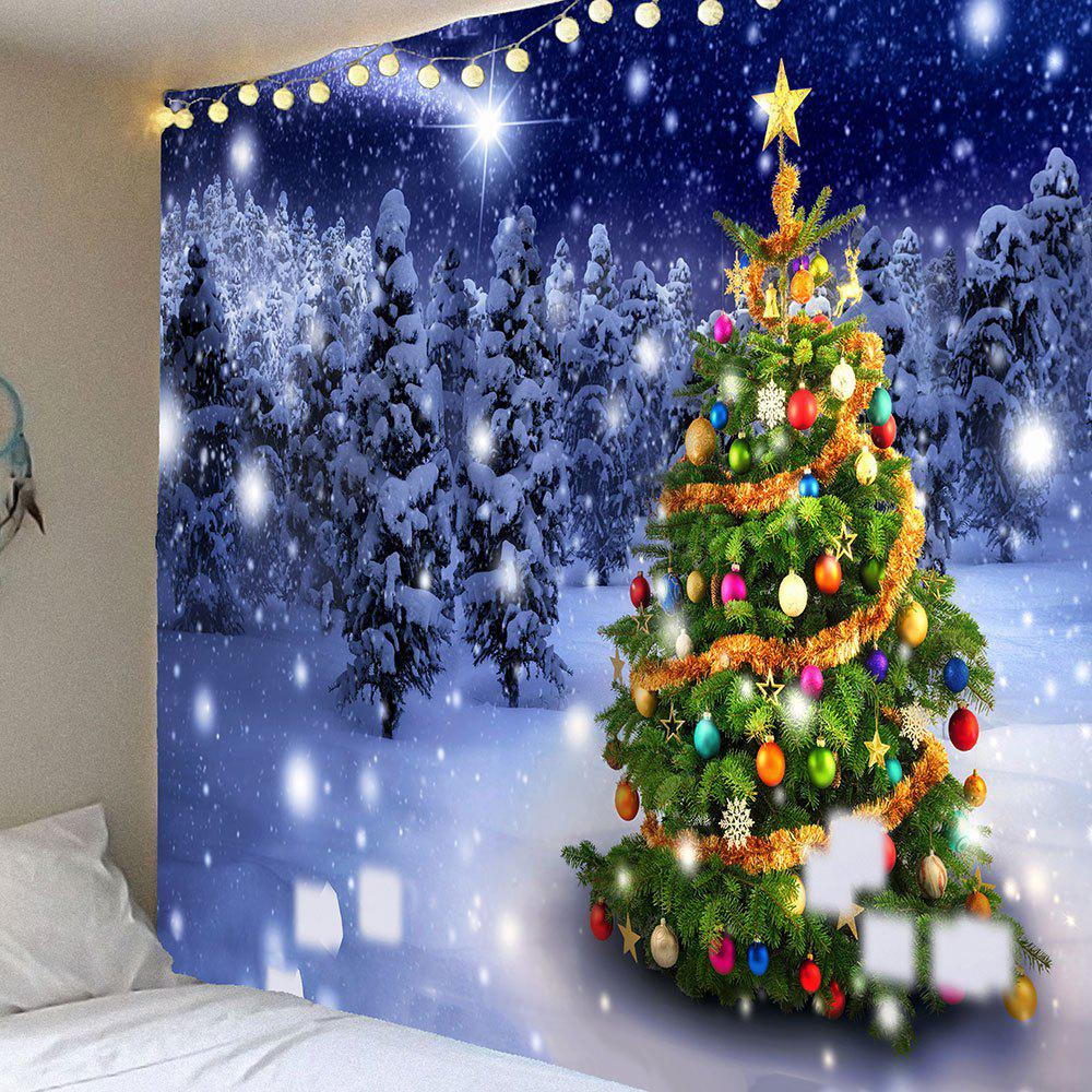Christmas Tree Snow Night Forest Printed Wall Tapestry christmas tree snowman printed wall tapestry
