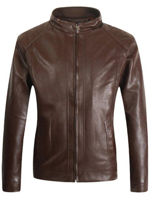 Stand Collar Faux Leather Casual Jacket - BROWN L