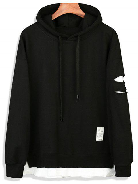 Faux Twinset Distressed Pullover Hoodie - BLACK L
