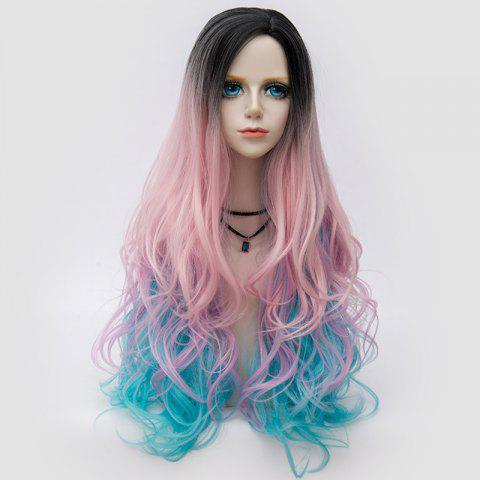 Long Side Parting Colormix Shaggy Layered Wavy Synthetic Party Wig - PINKISH BLUE