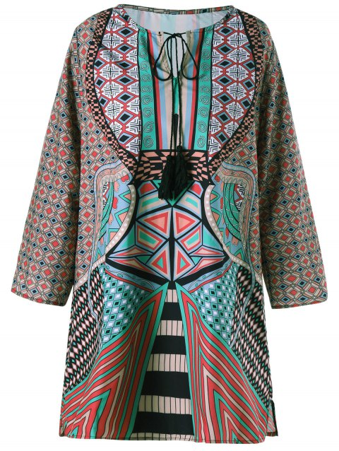 Mini Tassels Tribal Print Shift Dress - COLORMIX L