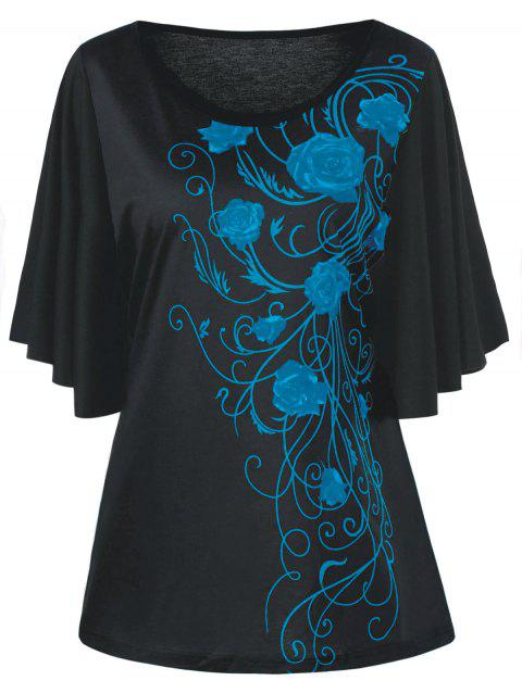 Plus Size Tiny Floral Drape Sleeve T-shirt - PEACOCK BLUE 5XL