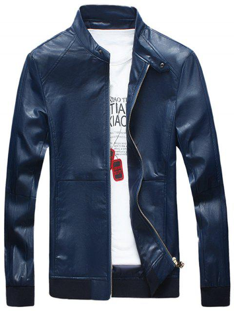 Zipper Up Stand Collar Faux Leather Bomber Jacket - BLUE XL