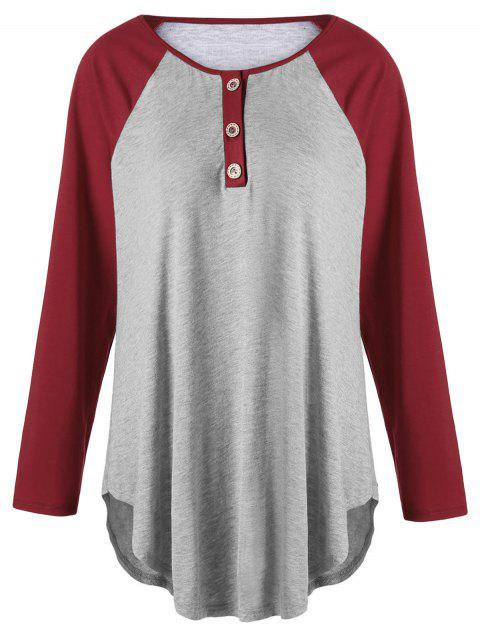 Plus Size Two Tone Raglan Sleeve T-shirt with Buttons - GRAY/RED 4XL
